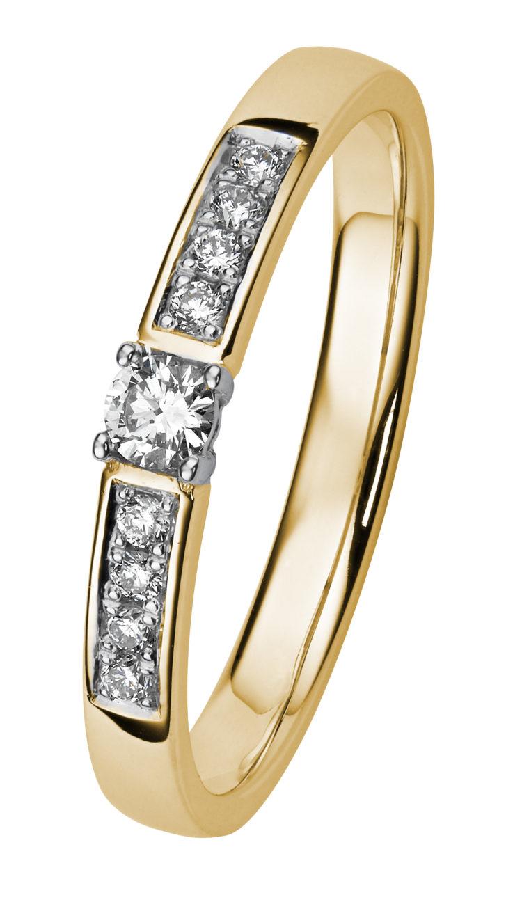 Margit keltakultainen timanttisormus