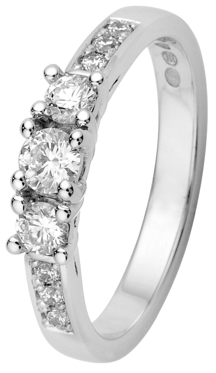 Margit timanttisormus kolmella isolla timantilla
