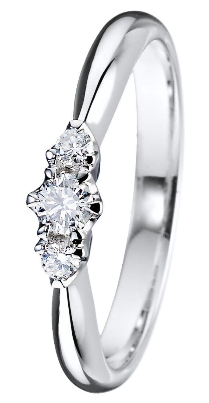 Helene kolmikivinen timanttisormus