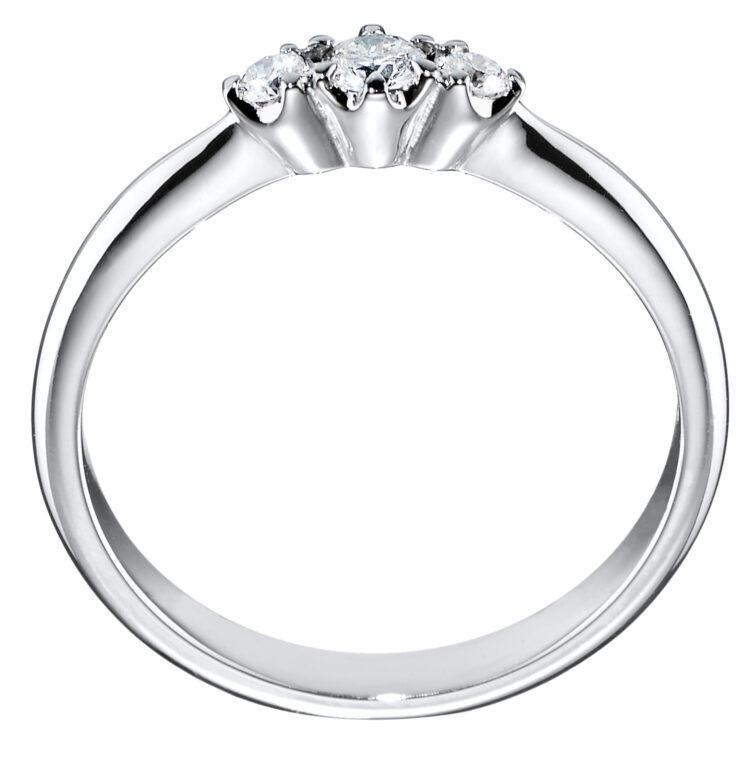 Helene kolmikivinen timanttisormus sivusta