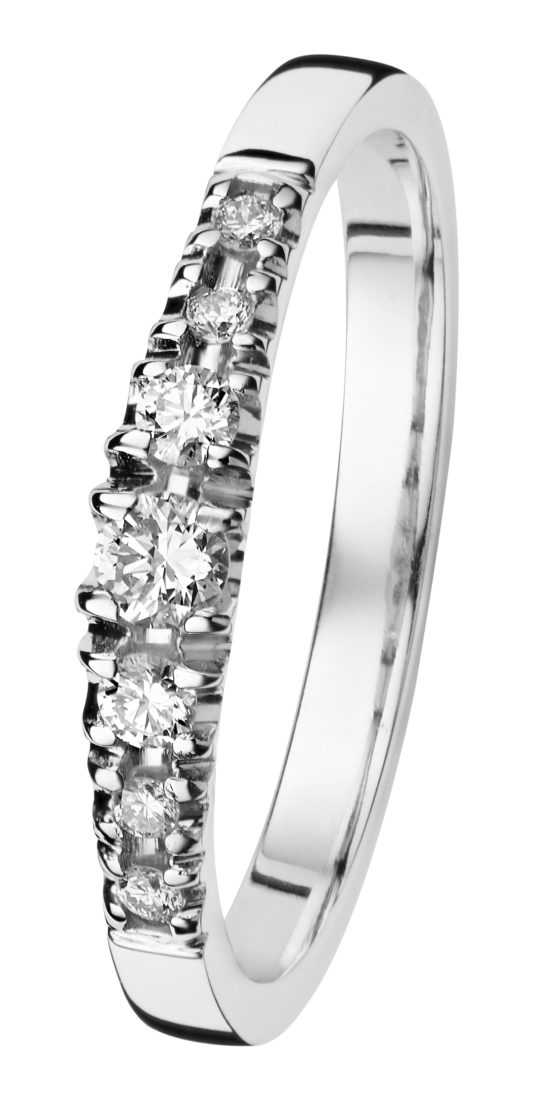 Cristal valkokultainen timanttisormus