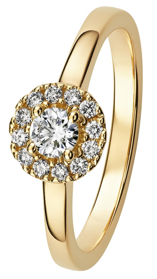Valerie timanttisormus on kaunis keltakultainen halomalli.