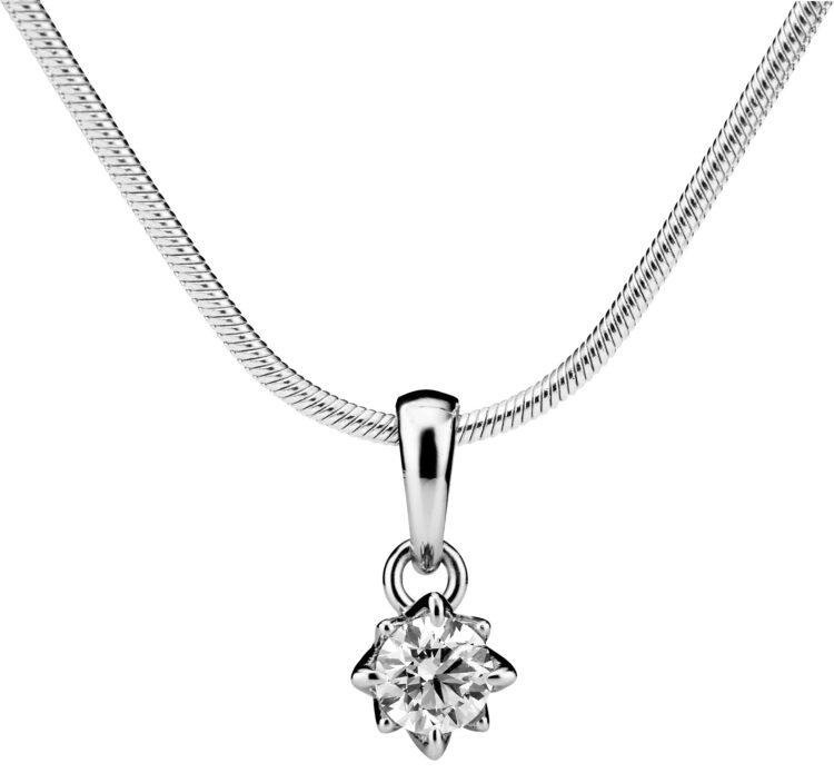Rosa-timanttikoru on tyylikäs ja yksinkertainen riipus.