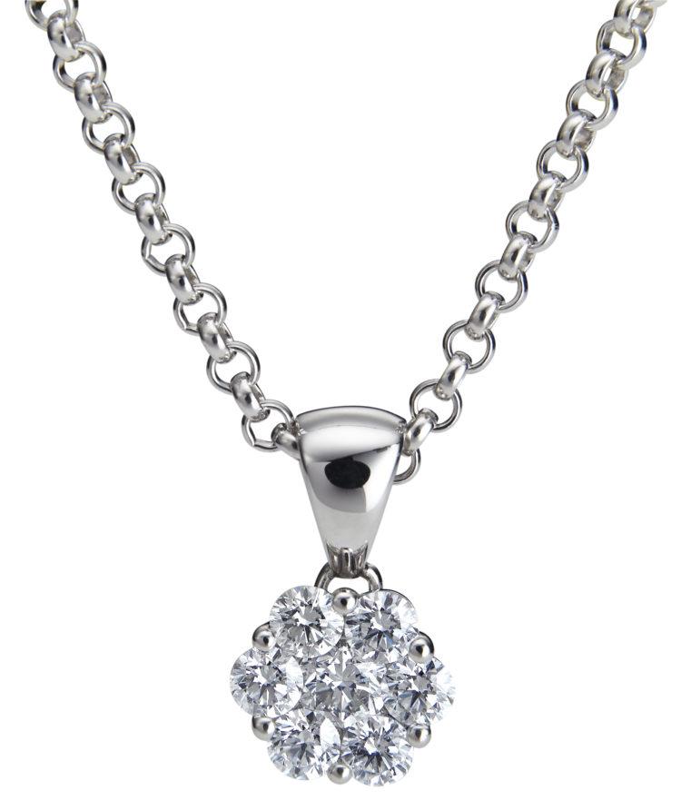 Upea seitsemällä timantilla varustettu Dahlia on näyttävä timanttiriipus