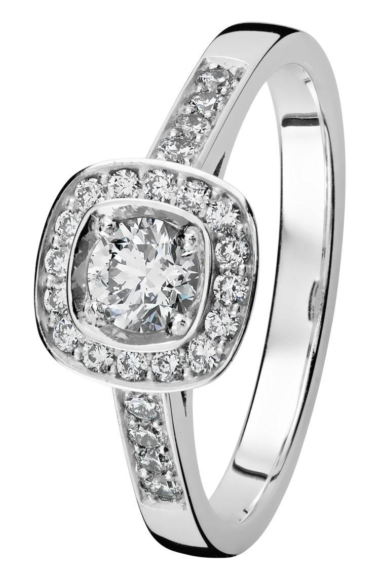 Stella valkokultainen timanttisormus