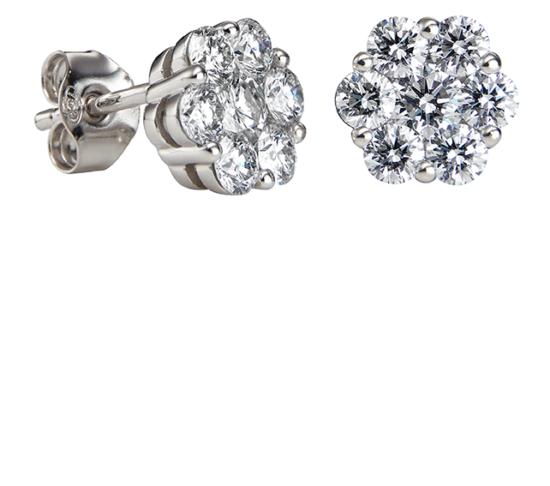 Dahlia valkokultainen timanttikorvakorut ovat upet timanttikorut juhlaan